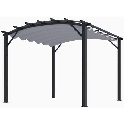 Pergola structure mixte 11,22 m2 - toile épaisse grise