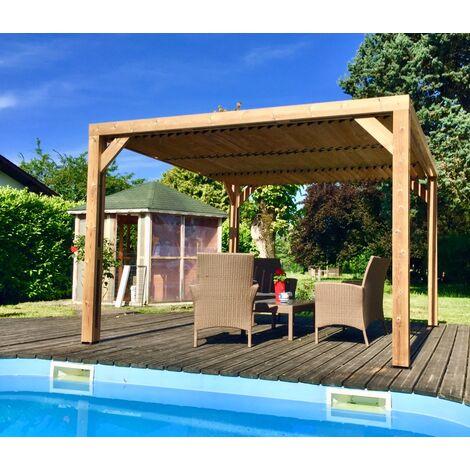 Pergola THERMAUVENT en bois avec vantelles mobiles sur toit