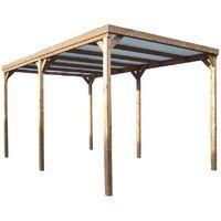 Pergola THONON en bois thermo chauffé avec couverture PVC 15,06 m²