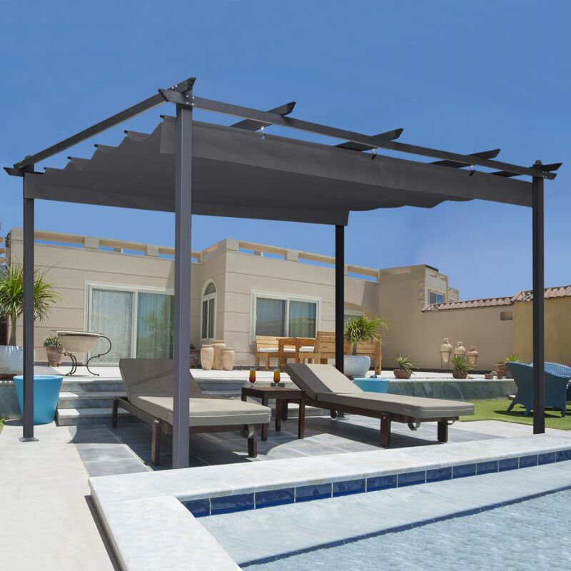 pergola toit r tractable gris 3x4m tonnelle 4 pieds 12868. Black Bedroom Furniture Sets. Home Design Ideas