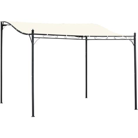 Pergola tonnelle de jardin auvent 2,97 x 2,97 m adossable métal noir polyester imperméabilisé anti-UV beige