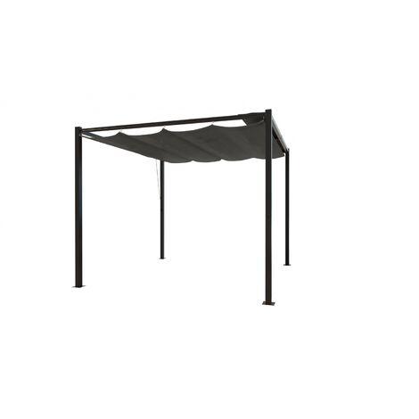 pergola tusa autoportante 3x3 m toile polyester grise 221752. Black Bedroom Furniture Sets. Home Design Ideas