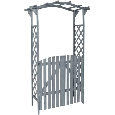 Pergola with Gate Grey 120x60x206 cm Solid Firwood
