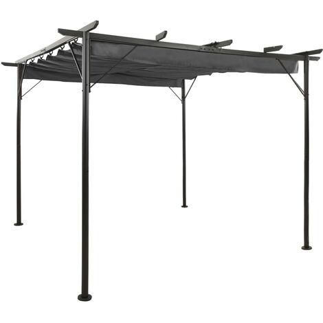 Pergola with Retractable Roof Anthracite 3x3 m Steel 180 g/m²