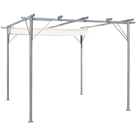 Pergola with Retractable Roof Cream White 3x3 m Steel