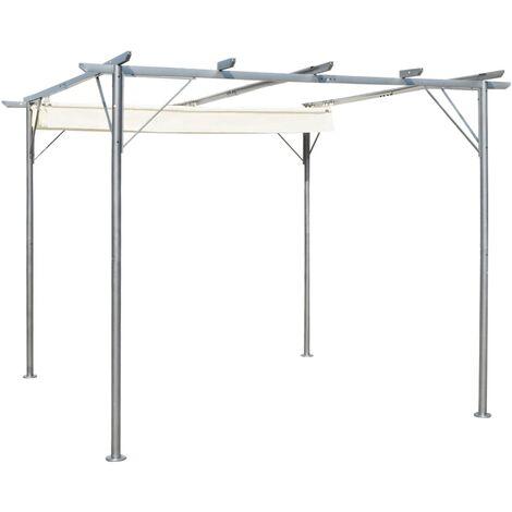 Pergola with Retractable Roof Cream White Steel 3x3 m