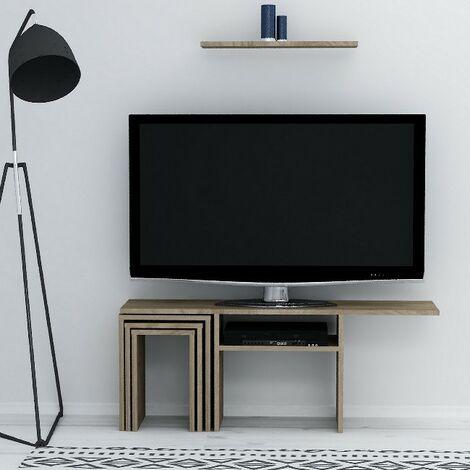 Peri TV-Schrank mit Couchtisch, Tueren, Regalen - fuer das Wohnzimmer - Nussbaum aus Holz, 120,6 x 29,5 x 49 cm