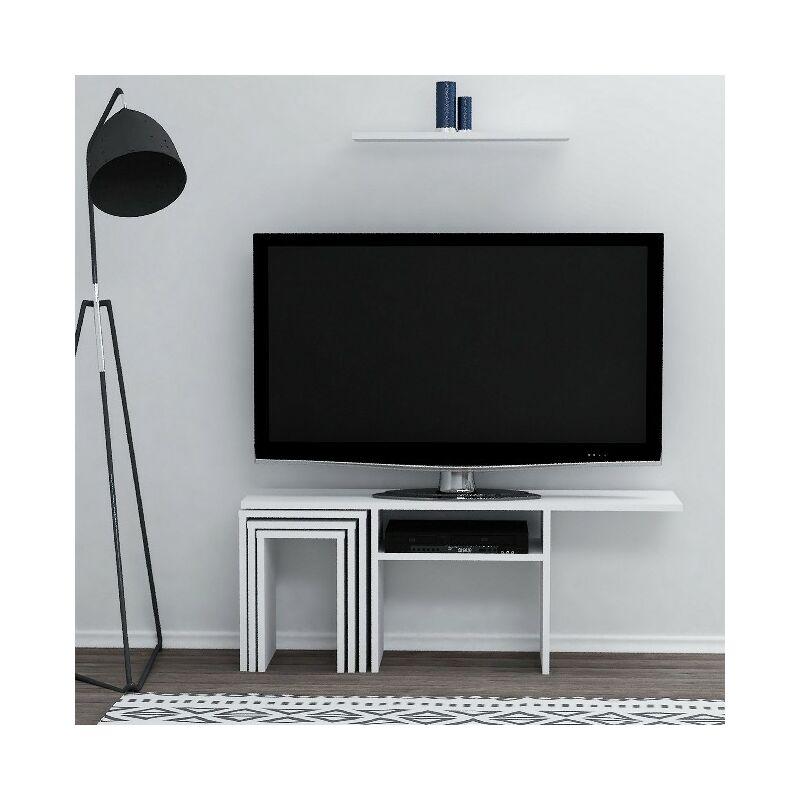 Peri TV-Schrank mit Couchtisch, Tueren, Regalen - fuer das Wohnzimmer - Weiss aus Holz, 120 x 29,5 x 47,2 cm - HOMEMANIA