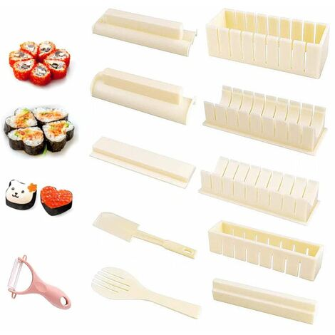 Perle rare 11 ensembles de moulin de cuisine à moule à sushi blanc + éplucheur (couleur aléatoire)