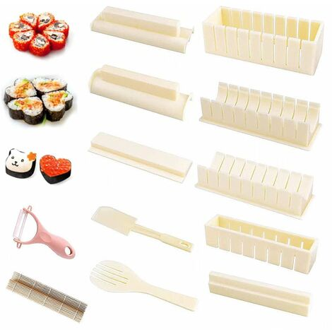 Perle rare 12 ensembles de moulin à sushi de cuisine + grattoir (couleur aléatoire)