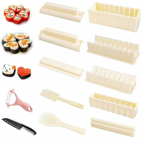 Perle rare 12 ensembles de moulin de cuisine à moule à sushi blanc + éplucheur (couleur aléatoire)