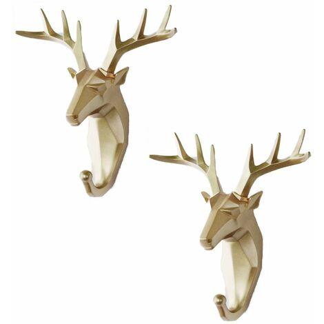 Perle rare 2 pièces crochet porte-manteau crochet animal crochet manteau porte-clés crochet mural (Golden Deer