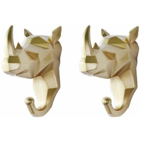 Perle rare 2 pièces de crochets pour animaux crochets de manteau tête de cerf perforés crochets muraux derrière la porte clé support mural porte-manteau animal clé (Golden Rhino