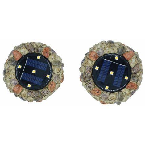 Perle rare 2 pièces de lumières solaires enterrées lumières en pierre 5LED résine enterrée lumières cour extérieure cour extérieure enterrée pelouse lumières simulation pierre lumières