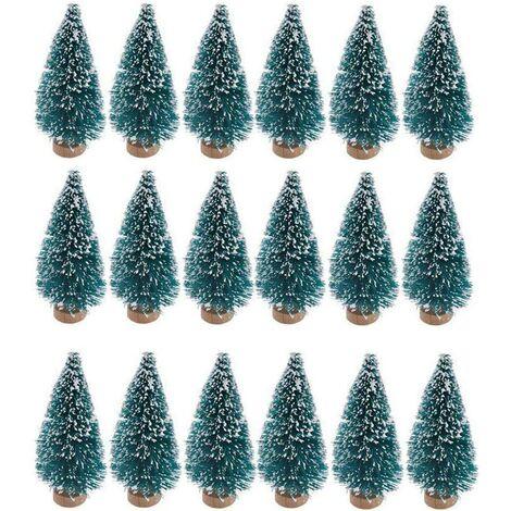 """main image of """"Perle rare 24 pièces de mini sapin artificiel de Noël en sisal de neige et de brosse à bouteille à base de bois arbre en plastique hiver neige décoration de table arbre de fête de Noël C"""""""