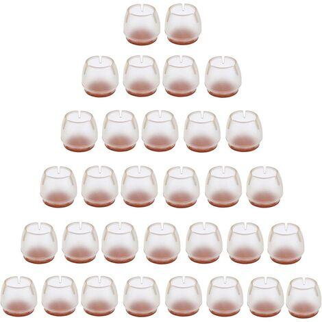 Perle rare 32 pièces de silicone chaise cap pied pad meubles table jambe protecteur de sol transparent chaise jambe cap pour 25-29 MM jambes rondes—