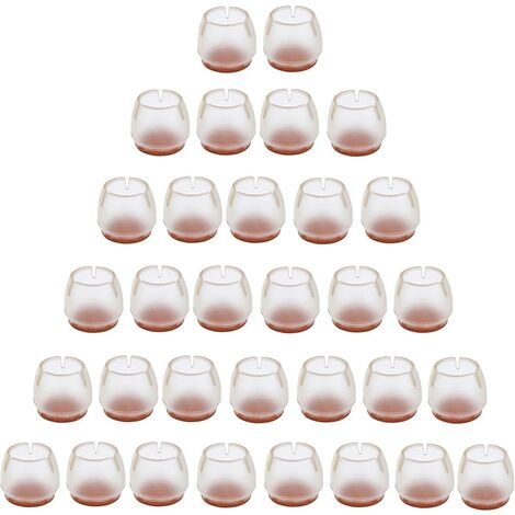 Perle rare 32 pièces de silicone chaise cap pied pad meubles table jambe protecteur de sol transparent chaise jambe cap pour 25-29 MM jambes rondes