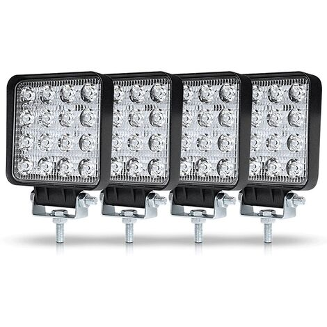 Perle rare 4Pcs Phare de Travail LED 3Pouces 48W LED Phare Travail Projecteur Feux Antibrouillard pour Voiture Camion UTV SUV Offroad Tracteur Bateau