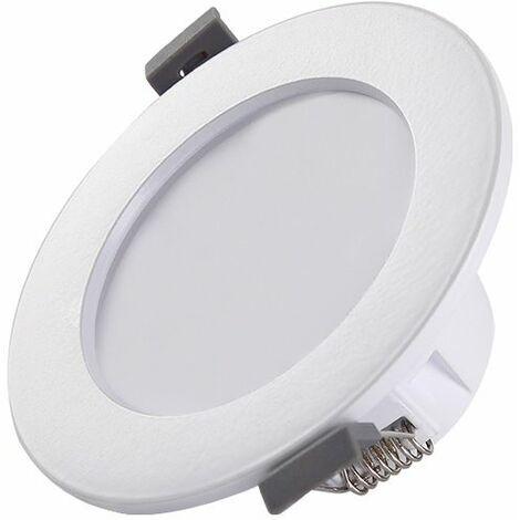 Perle rare 5 spots LED pour salle de bain, IP44 ultra-plat 25mm, Ø85mm, blanc, plafonnier encastré, panneau LED 5W, 460Lm, blanc neutre 4000K—