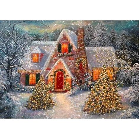 Perle rare 5D peinture au diamant scène de neige de Noël cabane pleine de broderie au diamant 5D peinture au diamant (40 * 30 n ° A0154)