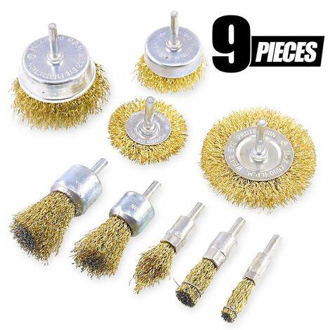 Perle rare 9Pieces Brosse metallique pour perceuse métallique meuleuse circulaire avec kit de brosse à tige 1/4 pouce pour l'élimination de la rouille/corrosion/peinture
