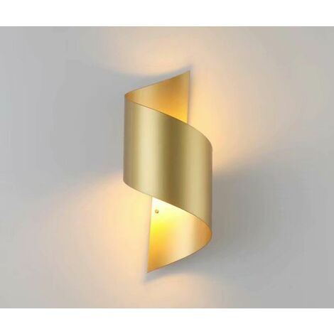 Perle rare Applique de chevet à LED, nouvelle applique murale de fond de salon d'escalier de couloir d'hôtel de projet de Chine, (lumière blanche chaude dorée en forme de S)-