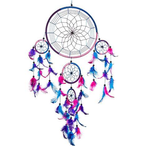 Perle rare ATTRAPEUR DE RÊVES, Grand Attrape rêve Bleu Roi, Rose, Violet Dreamcatcher à Perles & à Plumes Fait Main - Capteur de Rêves Multicolore, Artisanal
