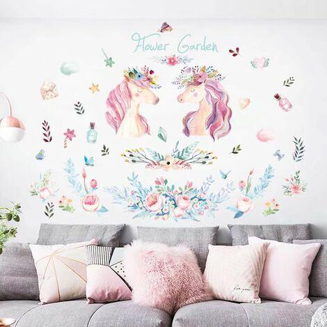 Perle rare Autocollant mural licorne - Autocollant licorne détachable avec forme de coeur et d'étoile et film réfléchissant, adapté aux fêtes d'anniversaire et aux chambres d'enfants(les styles d'images sont envoyés au hasard)