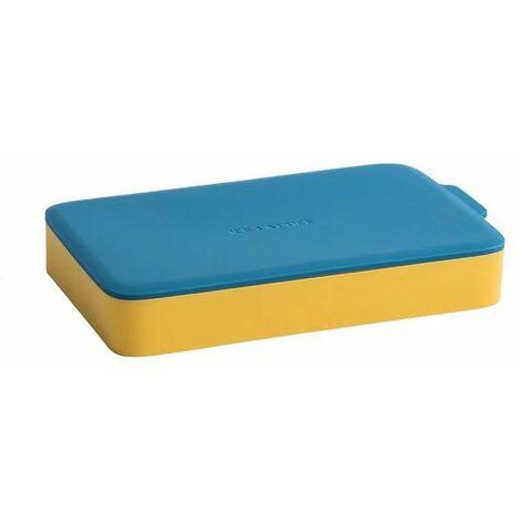 Perle rare Bac à glaçons en silicone avec couvercle pour faire du hockey sur glace fait maison petit moule à glaçons réfrigérateur à congélateur rapide (jaune bleu)