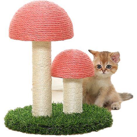 Perle rare Cadre d'escalade pour chat à travers la colonne du ciel Champignon en lin naturel Simulation de colonne à gratter Pelouse Grande planche à gratter pour jouet pour chat résistant à l'usure (Sisal à double tête rose + pelouse