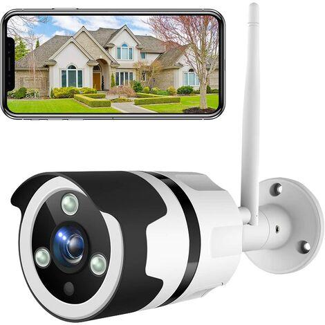 Perle rare Caméra de Surveillance Extérieure 1080P FHD WiFi IP, IP66 Étanche à la Poussière, Caméra IP avec Vision Nocturne (Blanc)