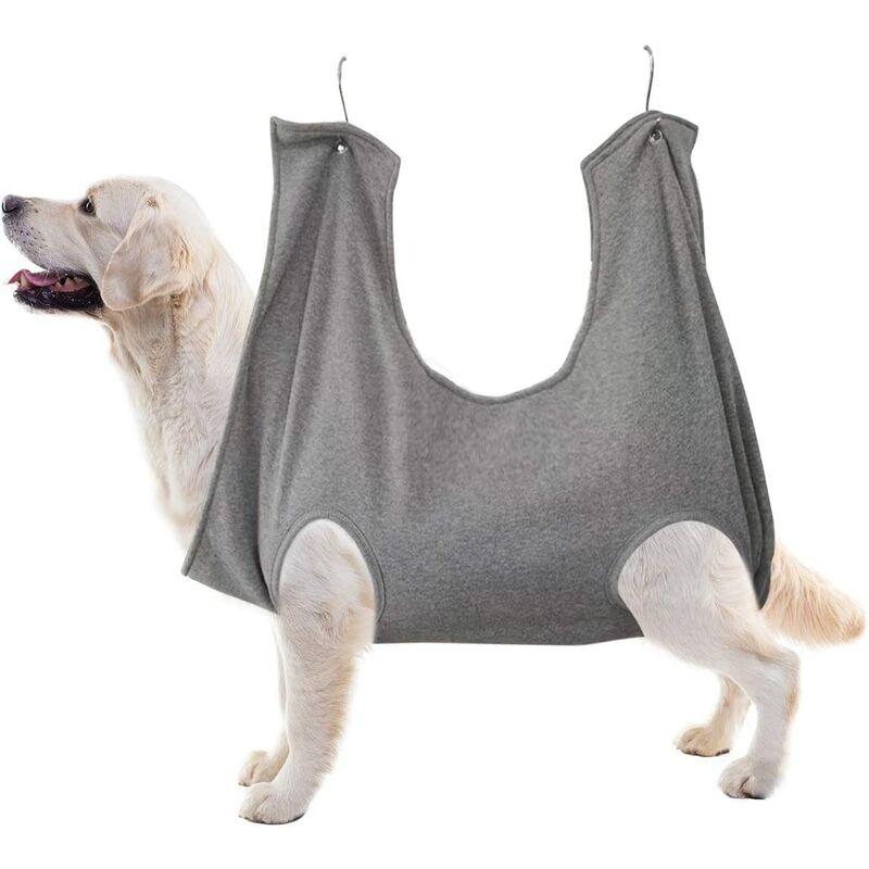 chien poitrine fronde hamac aide chien coupe ongles harnais kit toilettage pour animaux de compagnie maillots de bain gris grand - Perle Rare