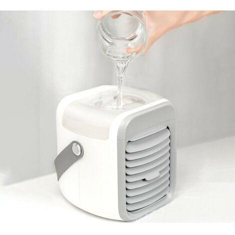 Perle rare Climatiseur Mobile Silencieux, Climatiseur Portable, Refroidisseur d'air Portable, Climatiseur de Bureau Portable 300ml, Ventilateur Humidificateur d'air, Batterie 2000mAHm, 3 vitesses, 873g,Gris