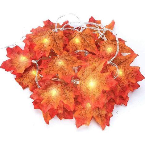 Perle rare Couronne d'automne, feuilles d'automne, couronne de feuilles d'érable, feuilles de guirlande d'automne, décoration parfaite pour Thanksgiving et lumières de Noël (jaune 3m 20led)