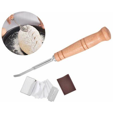 Perle rare Couteau de coupe de pâte Couteau de coupe de bâton français Manche en bois Couteau de coupe à l'arc Couteau à pain en acier inoxydable