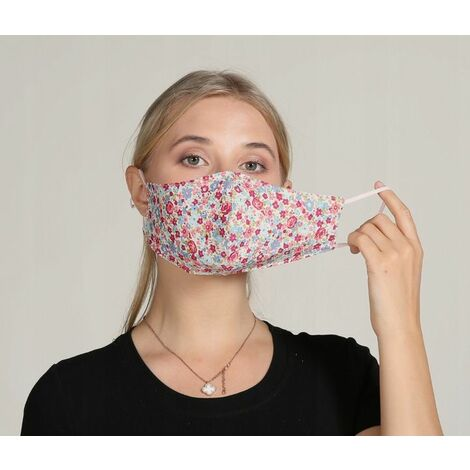 Perle Rare Das erwachsene Maskenstoff ist waschbar, wiederverwendbar, einstellbar, mit Filterbeutel (hellrote Blume)