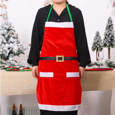 Perle rare Décorations de Noël Fournitures quotidiennes de vêtements de Noël Tabliers de cuisine de Noël Fournitures de fête de famille rouge