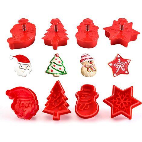 Perle rare Ensemble de 4 pièces emporte-pièce de Noël avec moule à biscuits poussoir décoration de gâteau fondant à la pâte à biscuits