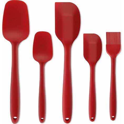 Perle rare Ensemble de 5 spatules en silicone, ensemble de spatules à gâteau à la crème pour outils de cuisson, brosse de cuisson barbecue, rouge