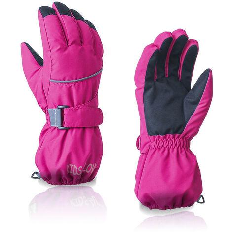 Perle rare Gants chauds d'hiver pour enfants gants d'extérieur gants de ski couleur unie coupe-vent, imperméable et résistant à l'usure rose rouge M