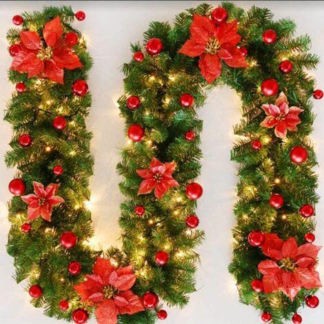 """main image of """"Perle rare Guirlande d'arbre de Noël 270 cm, guirlande d'arbre artificiel de Noël avec décoration de lumières LED, pour la cheminée d'escalier de porte d'arbre de Noël (rouge)("""""""