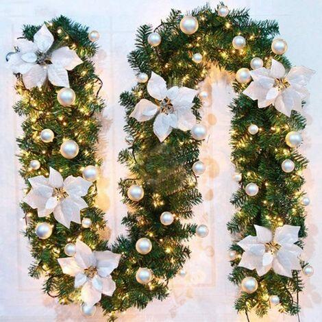 Perle rare Guirlande d'arbre de Noël 270 cm, guirlande d'arbre artificiel de Noël décorée de lumières LED pour cheminée d'escalier de porte d'arbre de Noël (argent)(
