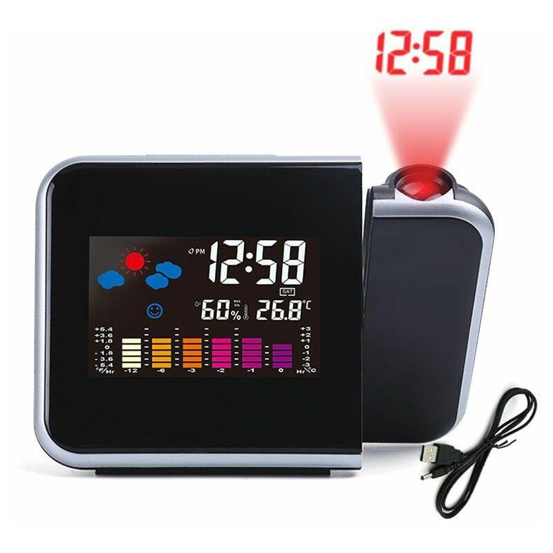 Perle rare Horloge météo électronique avec écran couleur, horloge de projection de prévisions météo Station météo noir