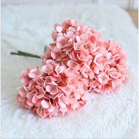 Perle rare Hortensia unique fleur artificielle bouquet de fleurs artificielles décoration maison salon table à manger décoration décoration fleur bouquet de mariage (3 rouge carmin)