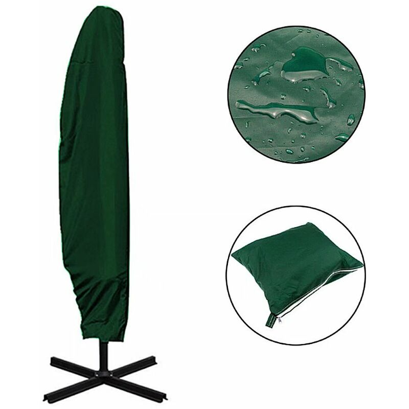 Housse de protection pour parasol déporté ?210D imperméable à la poussière Résistant aux UV ?Housse 205cm pour parasol déporté - Perle Rare
