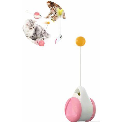 Perle rare Jouet auto-élévateur pour chat (Balance Car Rose White Ball + Accessoires Feather Rod