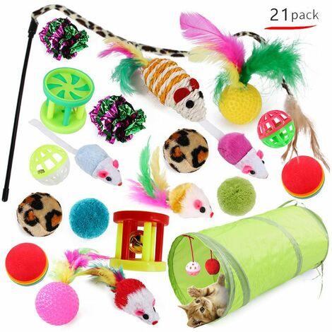 """main image of """"Perle rare Jouets pour chats, jouets pour chats, jouets pour chats et chaton, 21 pièces (le style d'image sera envoyé au hasard)"""""""