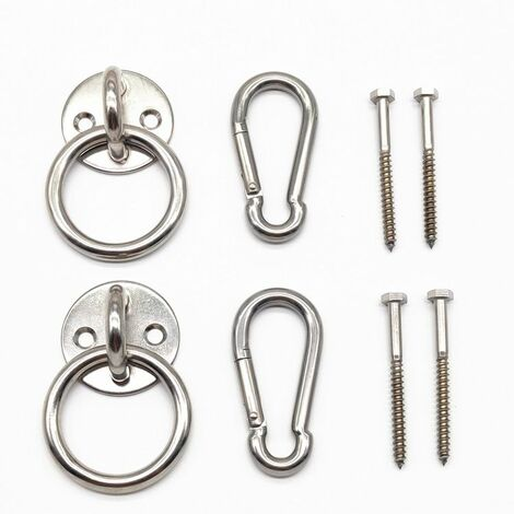 Perle rare Kit de suspension pour hamac d'intérieur avec crochets mousquetons et vis en acier inoxydable