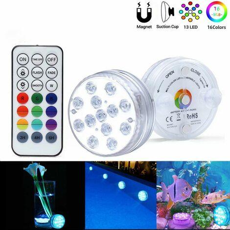 Perle rare LED Lumiere Piscine Lumière LED Submersible, Auting Éclairage IP68 Lampes Sous-Marines Multi-couleur avec Télécommande, Lumières de Baignoire Étanche, pour Aquarium Baignoire Piscine-2PCS