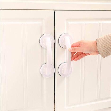 Perle rare Main courante de salle de bain Poignée de porte coulissante Poignée de tiroir sans poinçon Poignée de tiroir adhésive pressurisée, blanche Grand modèle 2pcs
